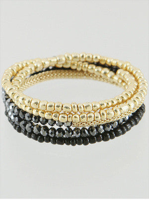 Beaded Wrap Bracelet - Onyx and Blush  - 4