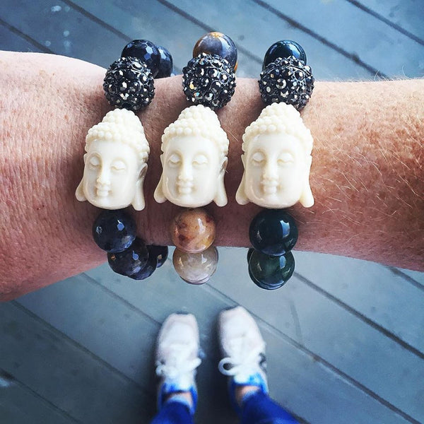 Buddha Beaded Bracelet - Onyx and Blush  - 4