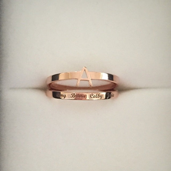 Dainty Personalized Band - Onyx and Blush  - 2