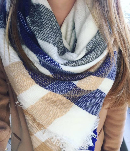 Oversized Plaid Blanket Scarf - Onyx and Blush  - 4