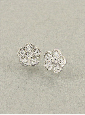 Pave Flower Studs - Onyx and Blush