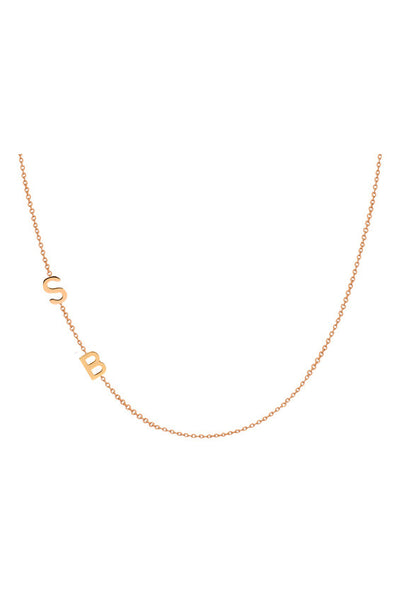 14K Gold Chic Side Initial Necklace - Onyx and Blush  - 5