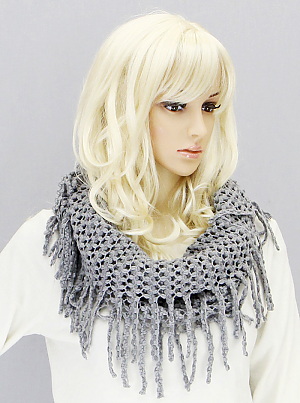 Tube Scarf with Fringe - Onyx and Blush  - 5