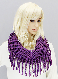 Tube Scarf with Fringe - Onyx and Blush  - 4