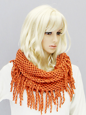 Tube Scarf with Fringe - Onyx and Blush  - 1
