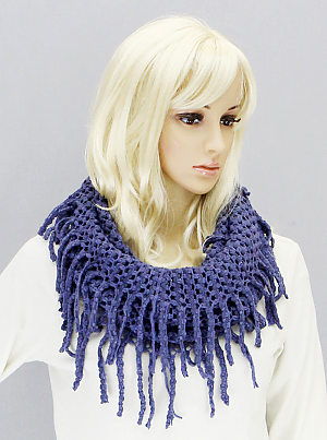Tube Scarf with Fringe - Onyx and Blush  - 3