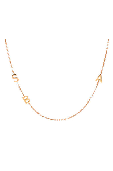 14K Gold Chic Side Initial Necklace - Onyx and Blush  - 6