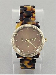 Chunky Tortoiseshell Watch - Onyx and Blush