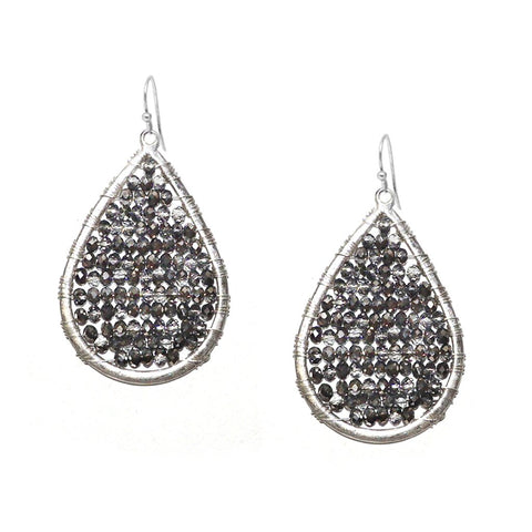 Crystal Beaded Earring by Marlyn Schiff