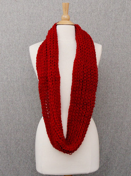 Thick Red Solid Infinity Scarf - Onyx and Blush  - 2