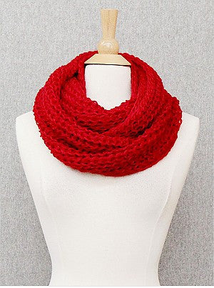 Thick Red Solid Infinity Scarf - Onyx and Blush  - 1