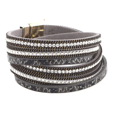 Leather Wrap With Crystals and Studs - Onyx and Blush