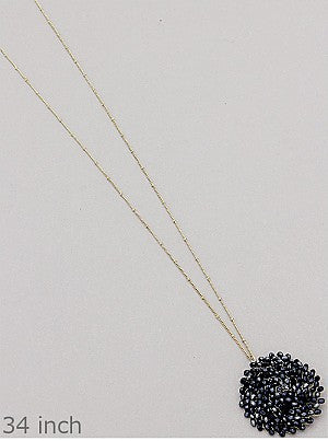Beaded Round Pendants - Onyx and Blush  - 9