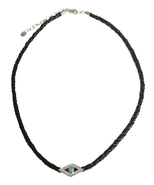 Leather Choker with Sterling Silver Eye - Onyx and Blush  - 1