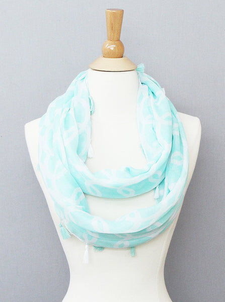 Chain Print Infinity Scarf with Tassels - Onyx and Blush  - 1