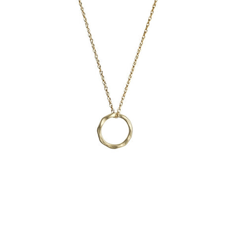 Matte Gold Hammered Ring Necklace - Onyx and Blush  - 1