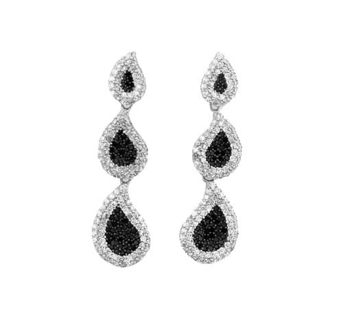 Triple Teardrop Earrings - Onyx and Blush  - 2