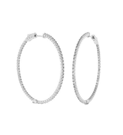 Small Pave In/Out Hoops - Onyx and Blush  - 4
