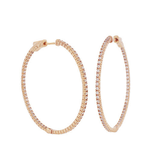 Small Pave In/Out Hoops - Onyx and Blush  - 2