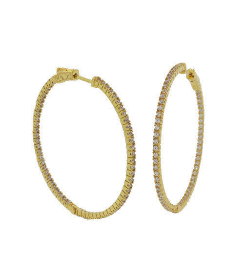 Small Pave In/Out Hoops - Onyx and Blush  - 3