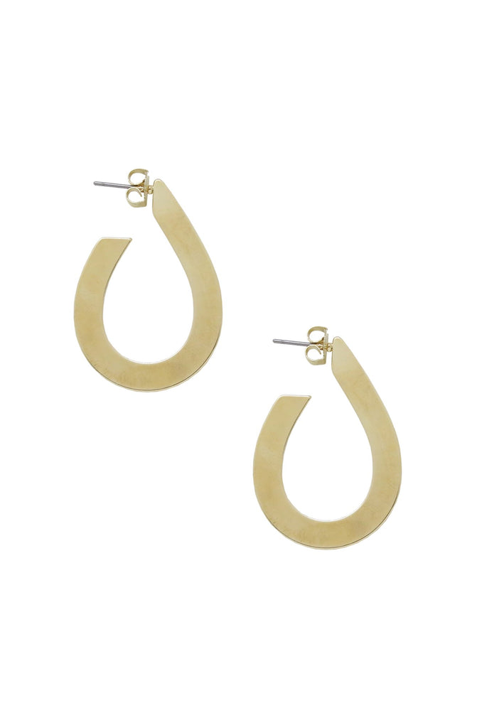 Flat Teardrop Hoop Earrings