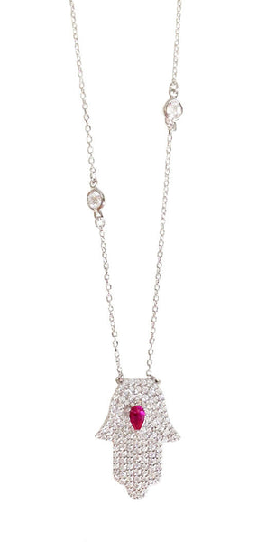 Pave/Ruby Hamsa on CZ Chain - Onyx and Blush  - 2