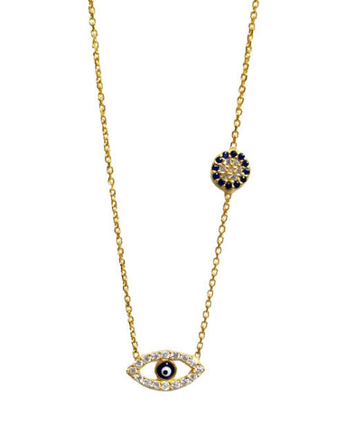 Evil Eye with Side Detail - Onyx and Blush