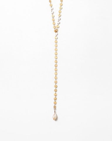 Gold Shiny Lariat with Crystal Charm