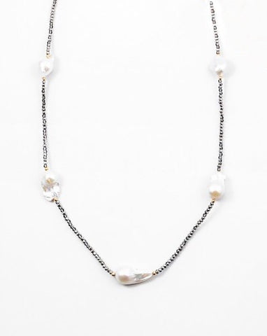 Hematite and Pearl Necklace