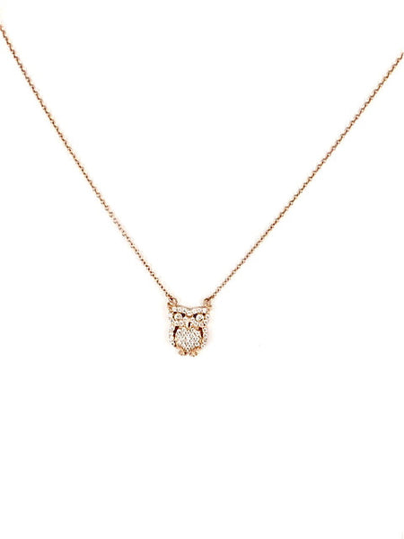Pave Owl Necklace - Onyx and Blush  - 1