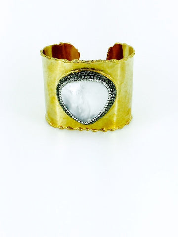 Gold and Mother of Pearl Cuff - Onyx and Blush