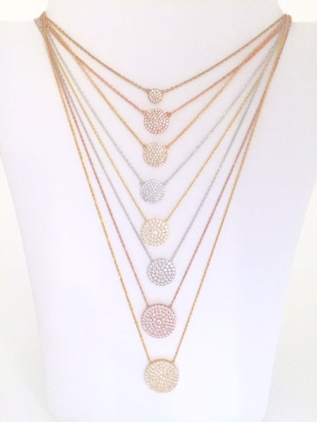 Classic Pave Circle Necklaces - Onyx and Blush  - 2