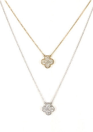 Pave Clover Necklace - Onyx and Blush  - 1