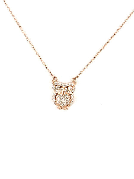 Pave Owl Necklace - Onyx and Blush  - 2