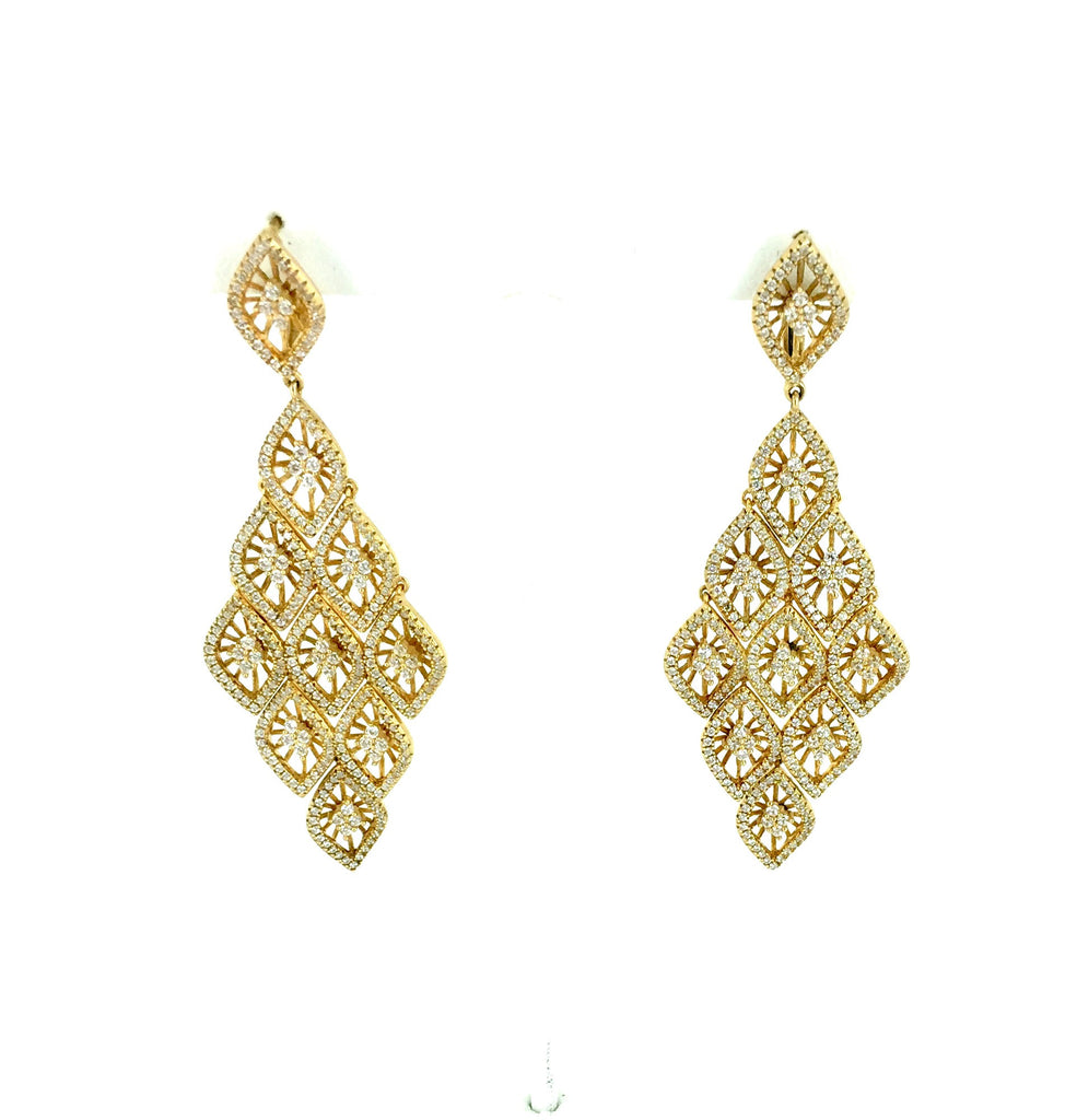 Large Gold Pave Chandelier Earrings - Onyx and Blush