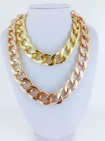 Chain Link Necklace - Onyx and Blush  - 1