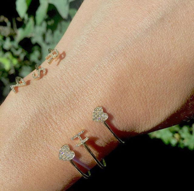 Diamond Initial & Heart Cuff Bracelet – yx and Blush