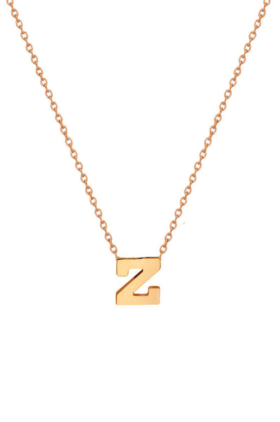 14K Gold Initial Necklace - Onyx and Blush  - 2