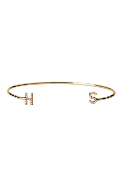 Diamond Initials Cuff Bracelet - Onyx and Blush  - 1