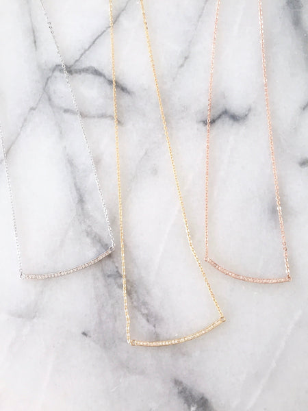 Classic Pave Bar Necklace - Onyx and Blush  - 4
