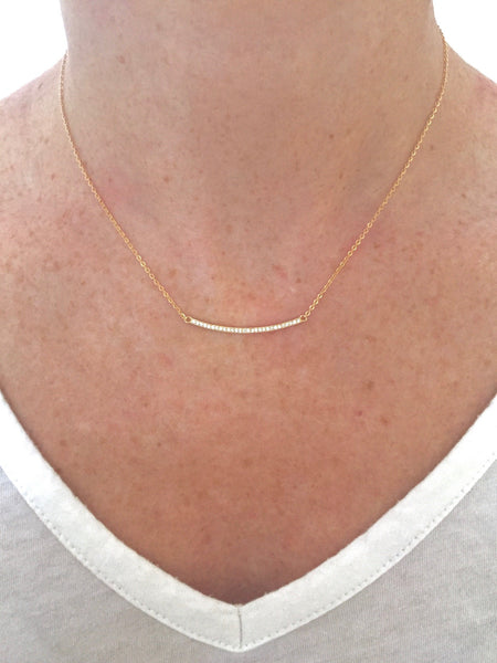 Classic Pave Bar Necklace - Onyx and Blush  - 5