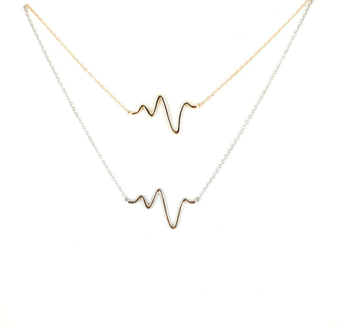 Heartbeat Necklace - Onyx and Blush  - 1