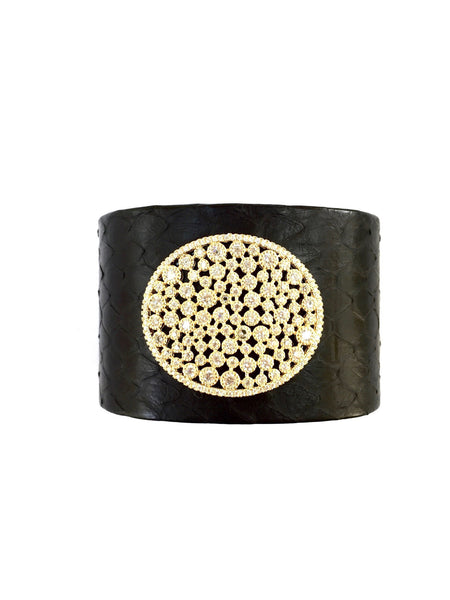 Python Leather Cuff - Onyx and Blush  - 3