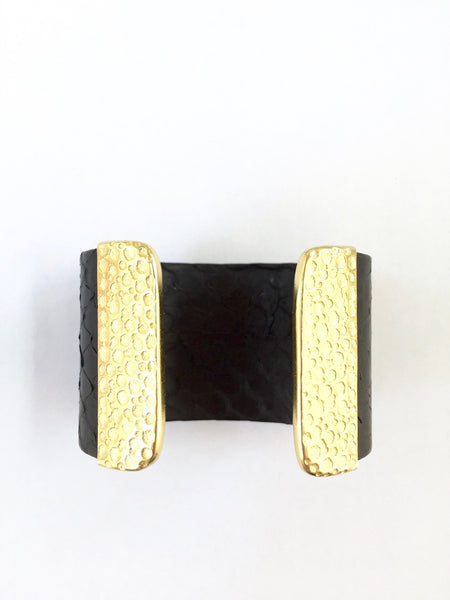 Python Leather Cuff - Onyx and Blush  - 4