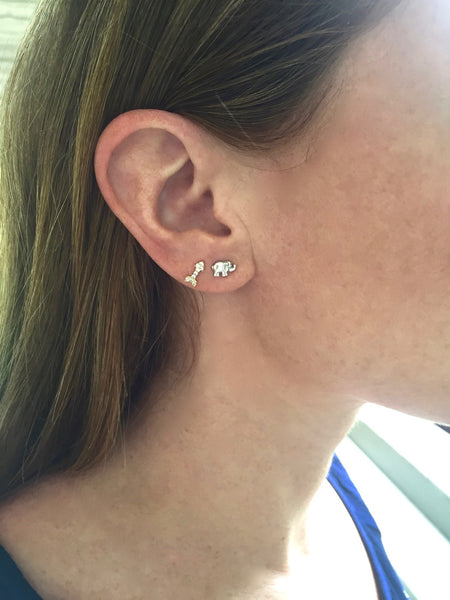Petite Studs - Onyx and Blush  - 4