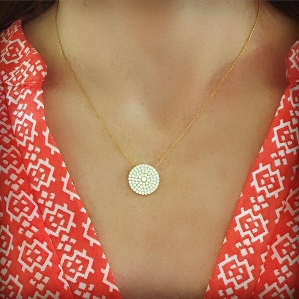Classic Pave Circle Necklaces