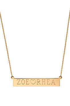 Nameplate Necklace - Onyx and Blush  - 1
