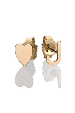 Chic 14k Gold Initial & Heart Stud Earrings - Onyx and Blush  - 1