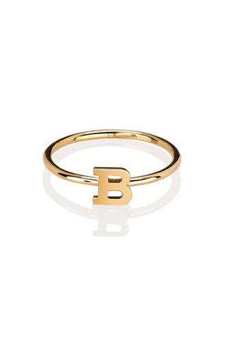 14K Gold Initial Ring - Onyx and Blush  - 1