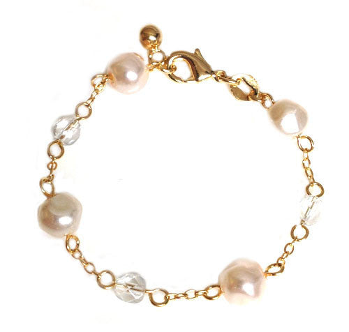 Crystals and Pearls Bracelet - Onyx and Blush  - 2
